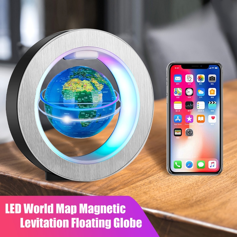 LED World Map Floating Globe Magnetic Levitation Light Rotated Night Lamp Power Cable Supply For Off