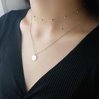 925 стерлингового серебра бусы двойной Слои гладкая подвеска в форме диска изысканный чокер длинное ожерелье подарок для женщин, хорошее юве...