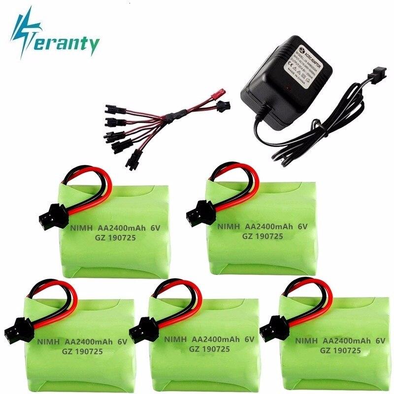 Batería + cargador NiMH de 6v 2400mah para coches de radiocontrol, tanques, Robots, armas, barcos AA Ni-MH 700mah, paquete de batería recargable de 6v