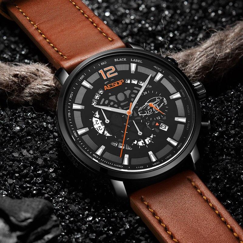 Reloj ESOP reloj cronógrafo de cuarzo para hombre reloj impermeable de cuero deportivo de moda para hombre reloj masculino 2019