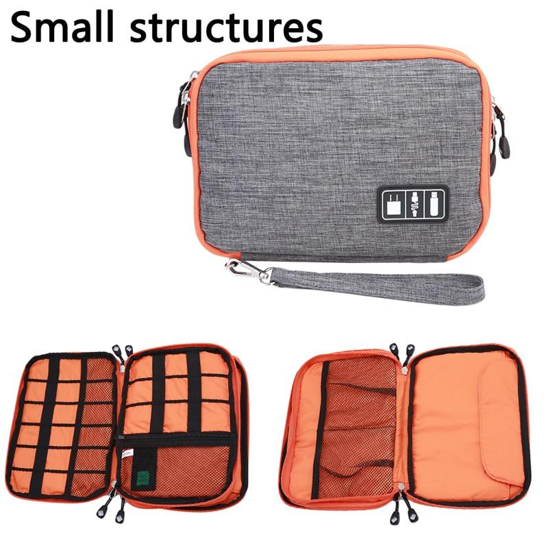 Bolsa de almacenamiento de cables de doble capa, impermeable, para auriculares, USB,...