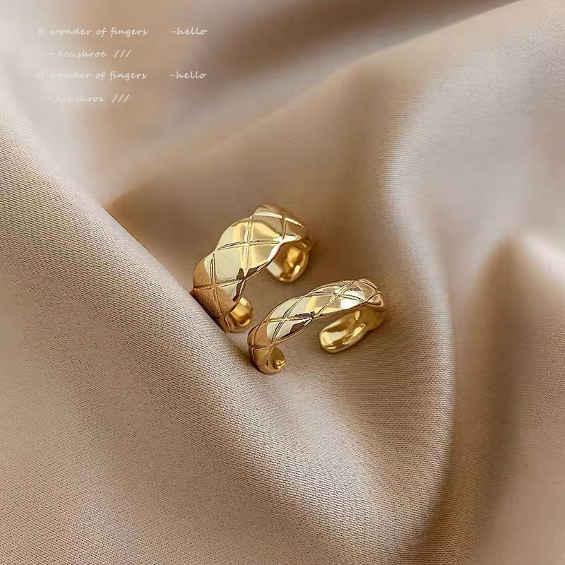 Classic Rhombic Cross Gold Rings For Woman 2021 New Korean Fashion Jewelry Student Girl's Party Gift Unusual Finger Accessories