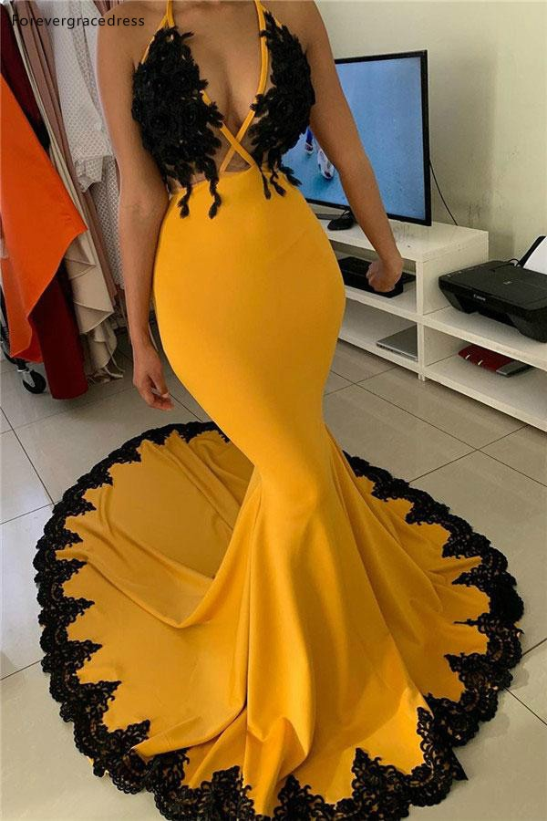 Yellow With Black Appliques Prom Dresses Mermaid Deep V Neck Girls Junior Graduation Party Evening G