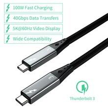 Cavo Thunderbolt 3 1.5M 40Gbps PD 100W USB4 Thunderbolt 3 cavo maschio 5K o doppio cavo da 4K tipo C a tipo C per Macbook Pro