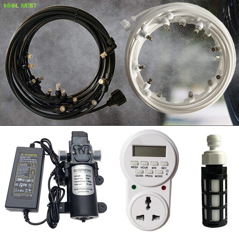 Electric sprayer 12V water mist pump kits 8M-18M with timer 6mm slip lock nozzles mister garden sprinkler irrigation system S352