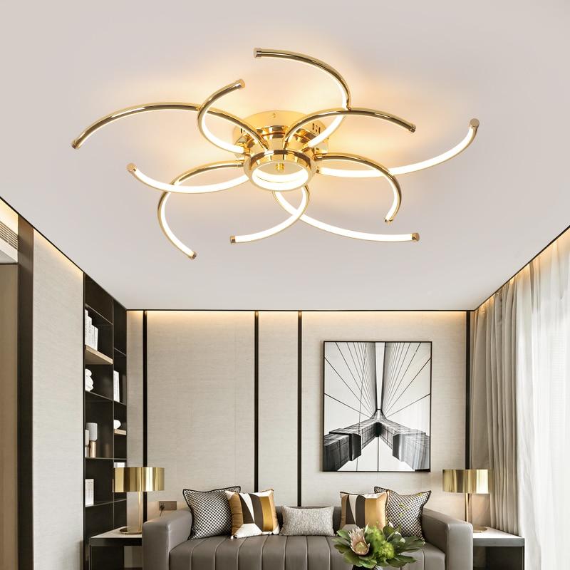 Superficie montada Cromo/chapado en oro moderno led luces de techo para sala de estar dormitorio de estudio 90-265V led lámpara de techo