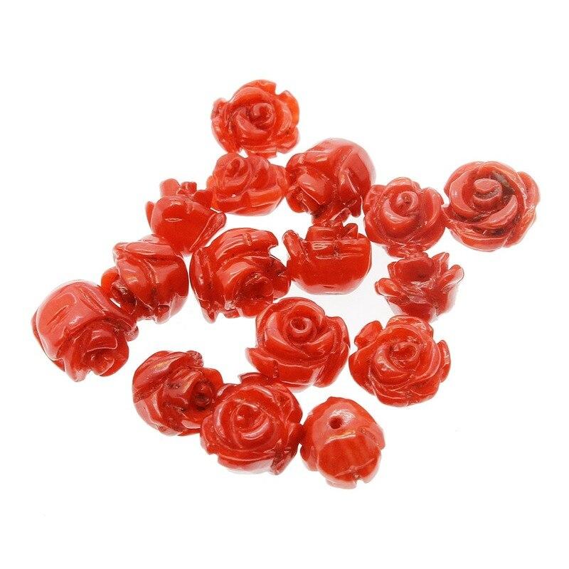 1 unidad de Coral de bambú Natural 7 ~ 13mm Rosa Camelia flor encantos de perlas sueltas joyería para mujer DIY pulsera collar Accesorios