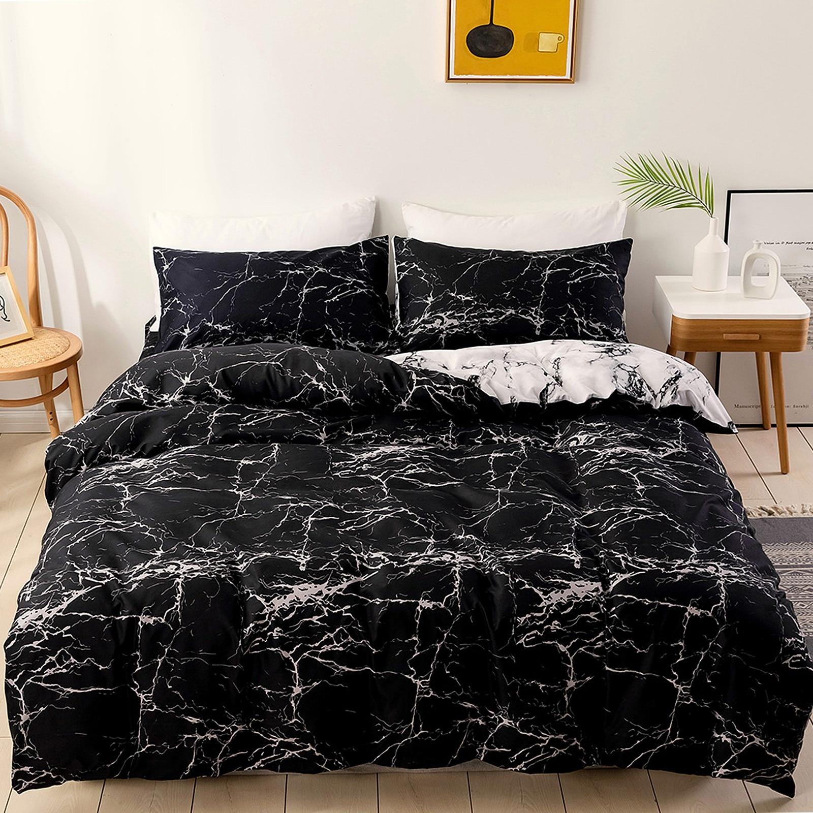 مجموعة غطاء لحاف من الرخام مجموعة فريدة من نوعها سرير حديث أبيض ورمادي مع غطاء لحاف 2 قطعة مجموعة سرير عكسها 135x200cm