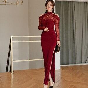 Sexy Hollow Out Deep V Neck Bandage Dress Zipper Sling Red Dresses Celebrity Party Club Sleeveless Knit Vestido