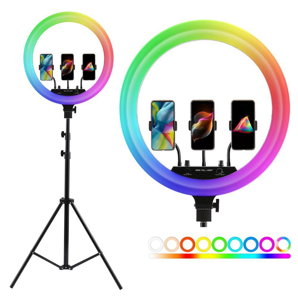 Tripé para Vídeo Lâmpada com 200cm Polegada Photo Studio Iluminação Led Rgb Anel Luz Fotografia Pode Ser Escurecido Grande Maquiagem 14 18