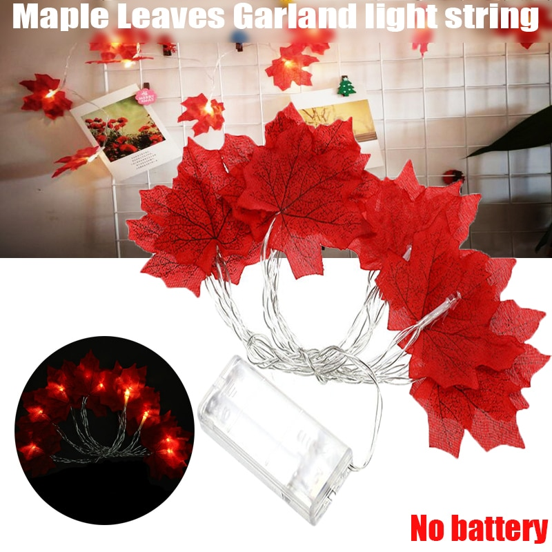 1,5 M 10LED Hojas de arce cuerda de luz iluminada otoño Halloween Acción de Gracias árbol de Navidad decoración de jardín