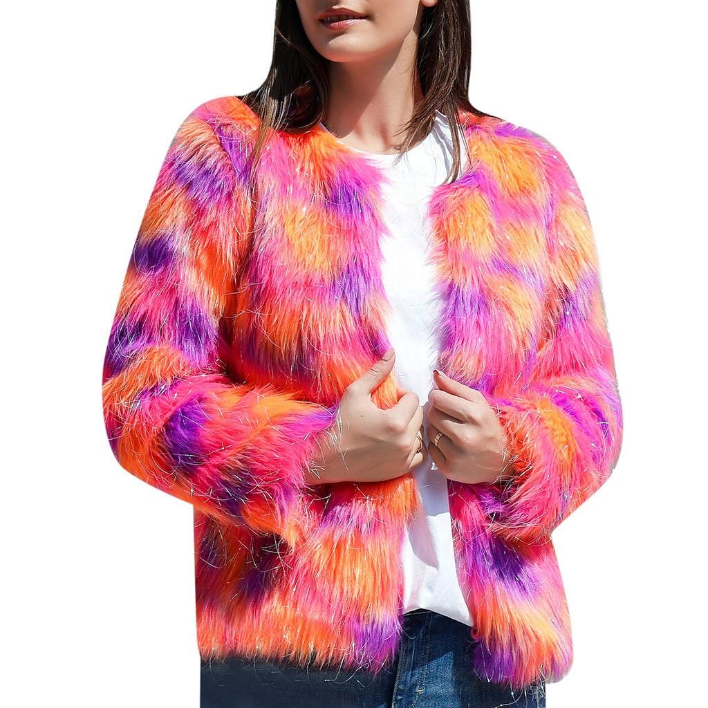 2020 abrigo de piel las mujeres ropa de invierno cálido de piel...