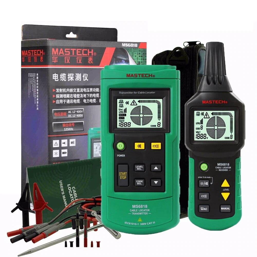 MS6818 المحمولة المهنية سلك كابل المقتفي المعادن الأنابيب محدد كاشف تستر خط المقتفي Voltage12 ~ 400 فولت