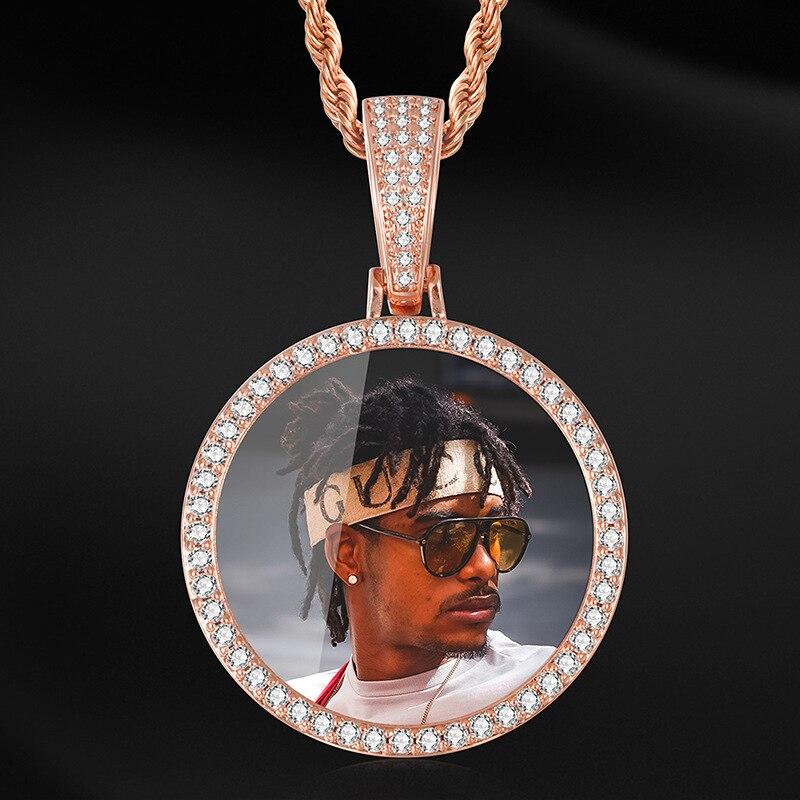 مجوهرات هيب هوب مع سلسلة تنس للرجال والنساء ، قلادة قابلة للتخصيص مع صور مستديرة ، قلادة صلبة ، صورة مخصصة