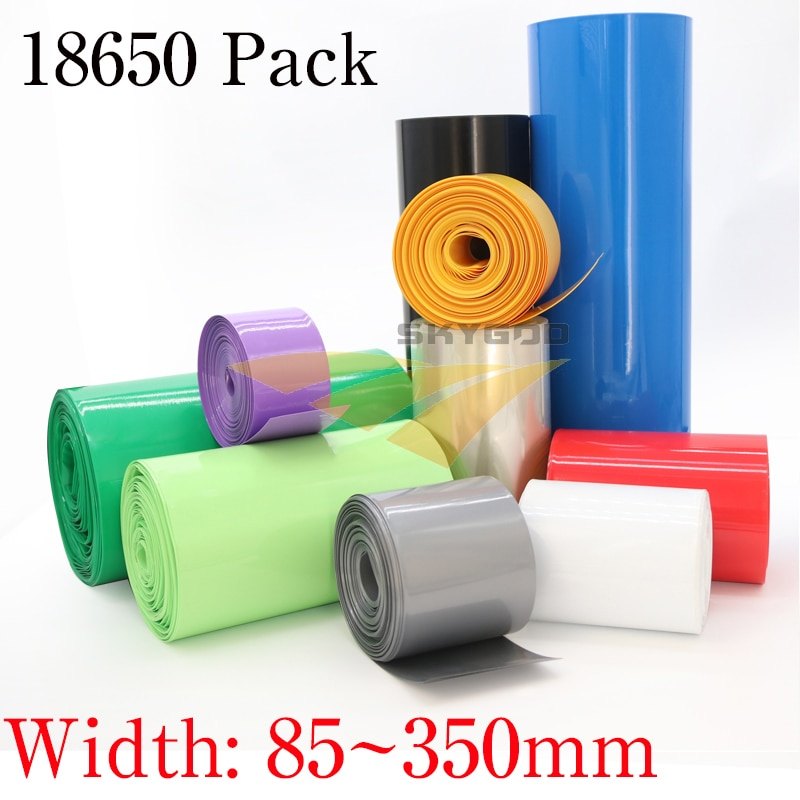 Width 85mm ~ 350mm 18650 Lithium Battery Heat Shrink Tube Wrap Cover Skin PVC Shrinkable Tubing Film Sleeves Insulation Sheath