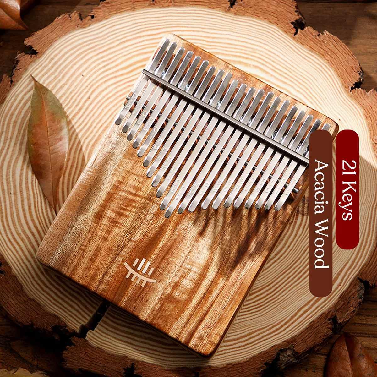 Kalimba 21 Schlüssel Klavier Finger Holz Festen Bord Unteren Mbira Acacia Musical Instrument für Anfänger Calimba Kinder Weihnachten Geschenk