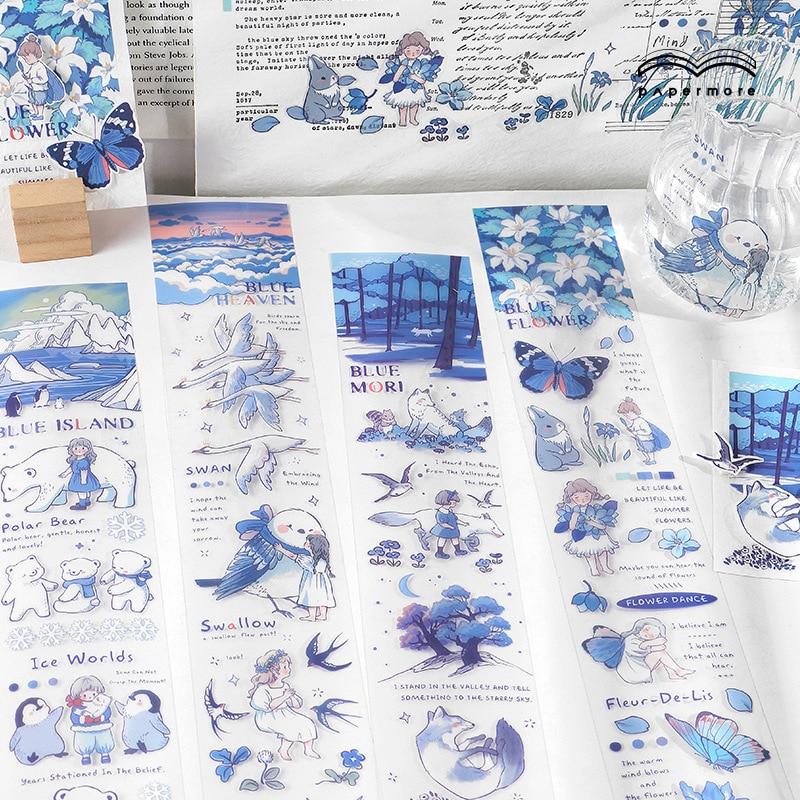 1 folha azul amigos série animais bonitos pet tape coreano artigos de papelaria adesivos kawaii material escolar decoração adesivo lable presente