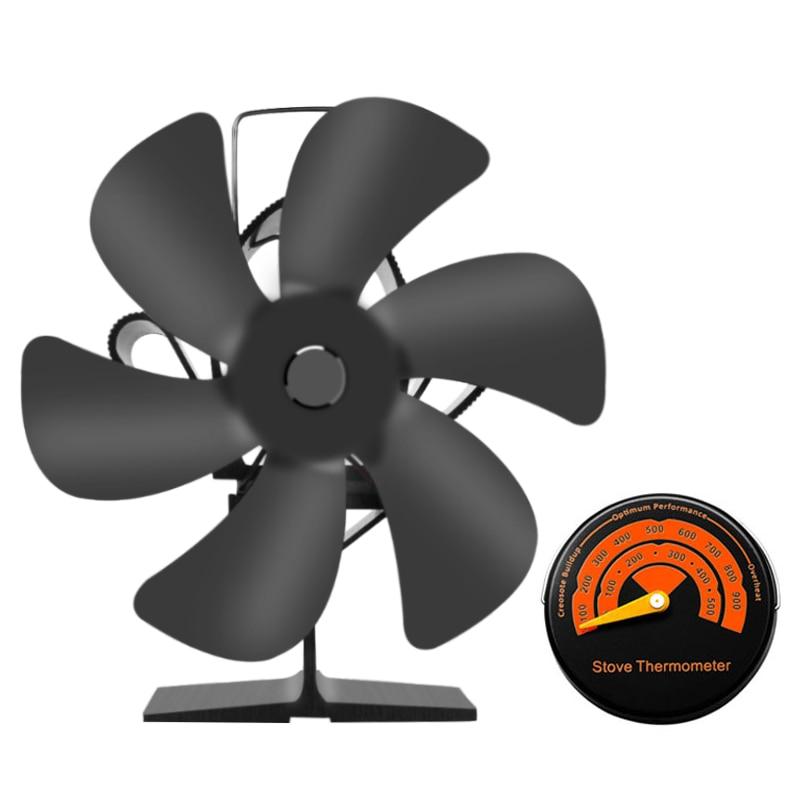 6 شفرة الأسود الموقد الحرارة بالطاقة موقد مروحة الخشب الموقد ايكو مروحة هادئة الموقد مروحة توفير الوقود كفاءة توزيع الحرارة