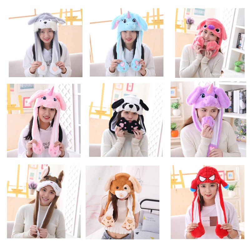 Various styles Cute Rabbit Hat with light Funny Air Float Filling Ear Moving Cap Cartoon Plush Stuffed Toys Gifts for child