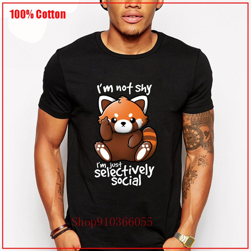 Divertida camiseta kawaii de panda Rojo tímido mapache, divertida camiseta de hombre selectiva social, bonita camiseta de hombre mapache antisocial
