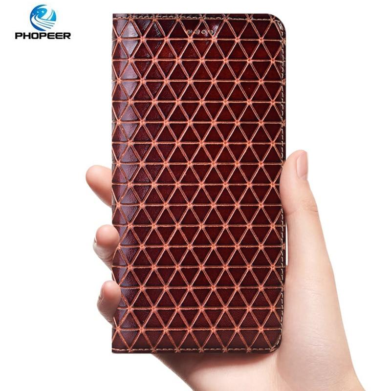 Funda de cuero genuino con patrón de diamantes para Huawei Nova 2 2S 3 3i 3e 4 4e 5 5i 5T 5Z 6 SE Plus Funda de cuero de lujo