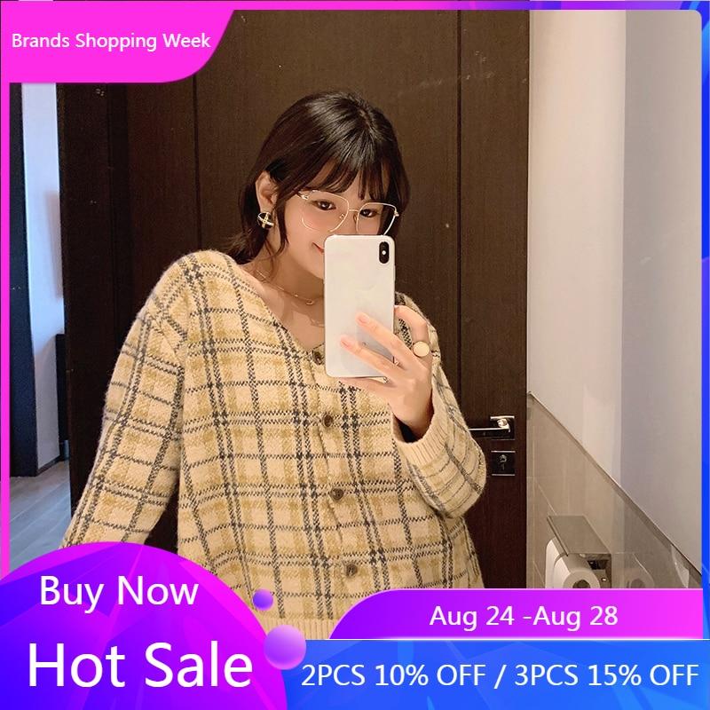Mishow 2019 inverno do vintage xadrez casaco de malha feminina moda vneck único breasted manga longa grosso cardigan tops mx19d5631