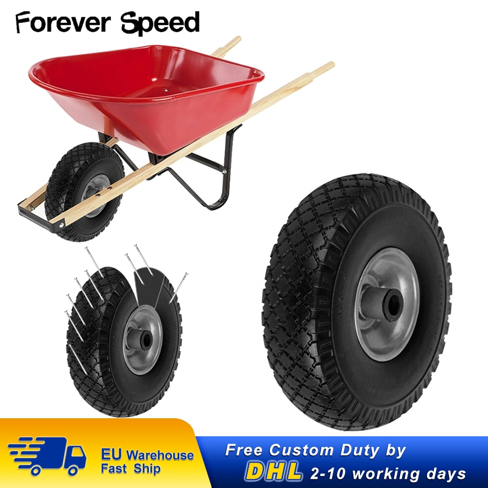 Carretilla de repuesto de 260mm, carretilla de taller, ruedas de caucho sólido PU, carga a prueba de pinchazos, 100kg, banda de rodadura acanalada negra
