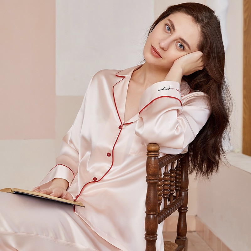 ميزون غابرييل 2021 جديد 100% التوت الحرير 19 مللي متر منامة مجموعة التطريز ملابس النوم للنساء طويلة الأكمام 2 قطعة بيجامة