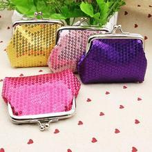 Fashion Women Small Sequin Wallet Holder Coin Purse Clutch Handbag Bag Oval Hasp Female Paillette