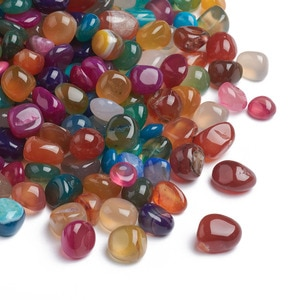 about 610pcs Dyed Mixed Color Natural Agate Beads No Hole Nuggets Tumbled Stone Beads for Jewelry Making DIY Crafts Accessories