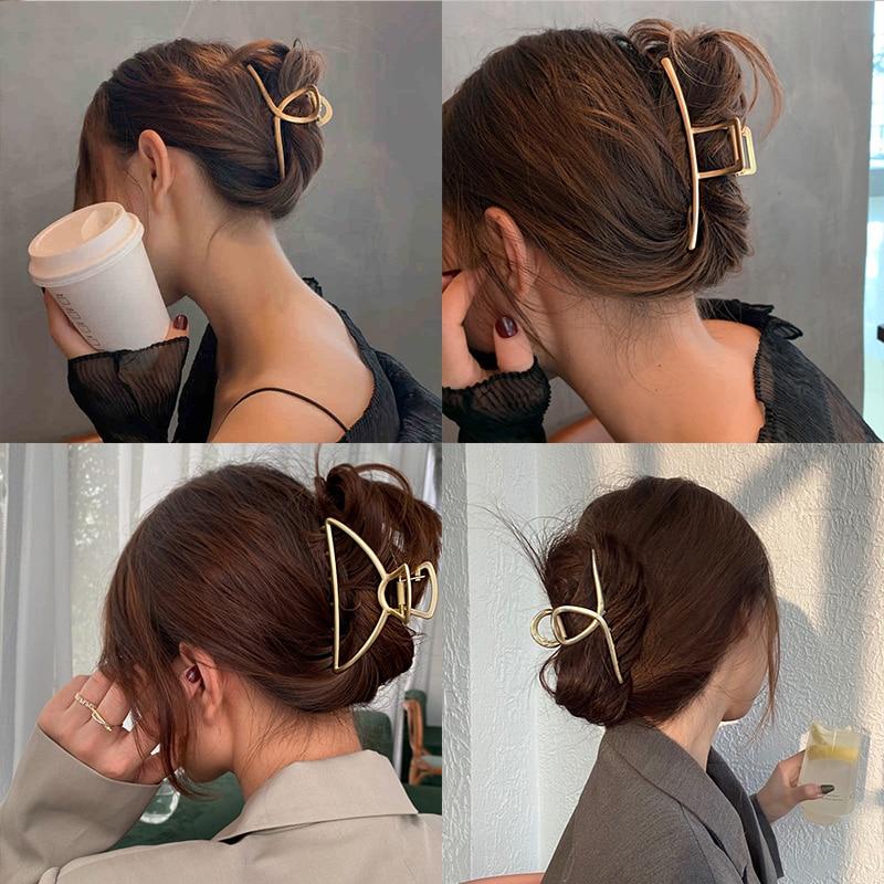 2021 New Women Elegant Gold Silver Hollow Geometric Metal Hair Claw Vintage Hair Clips Headband Hair