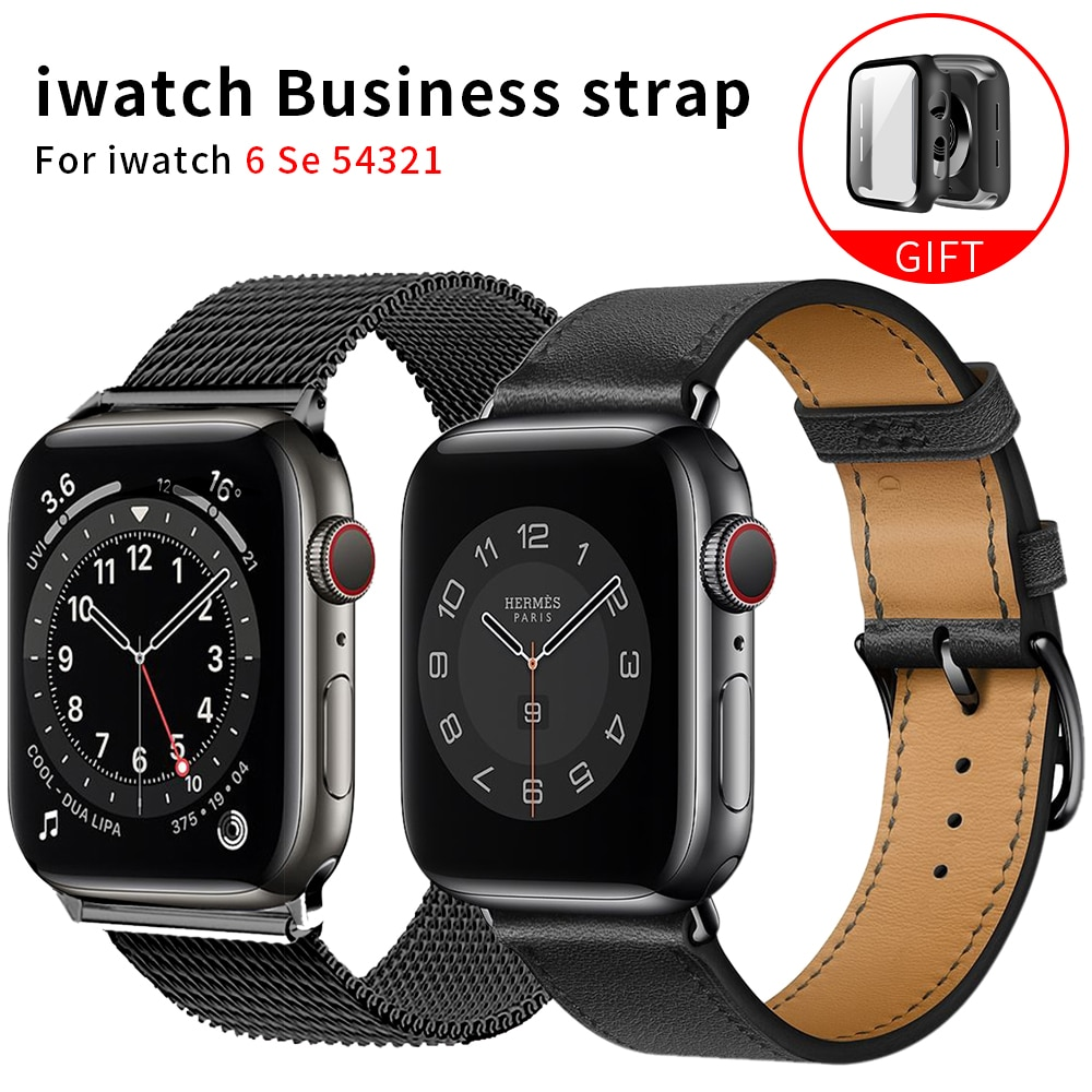 original black white lines leather strap for apple watch sport band 38mm 42mm for iwatch strap series 2 3 for iphone case set business Strap for Apple Watch Band Series 6 1 2 3 4 5 leather strap+case for Iwatch 5 4 Strap 38mm 40mm 42mm 44mm bracelet