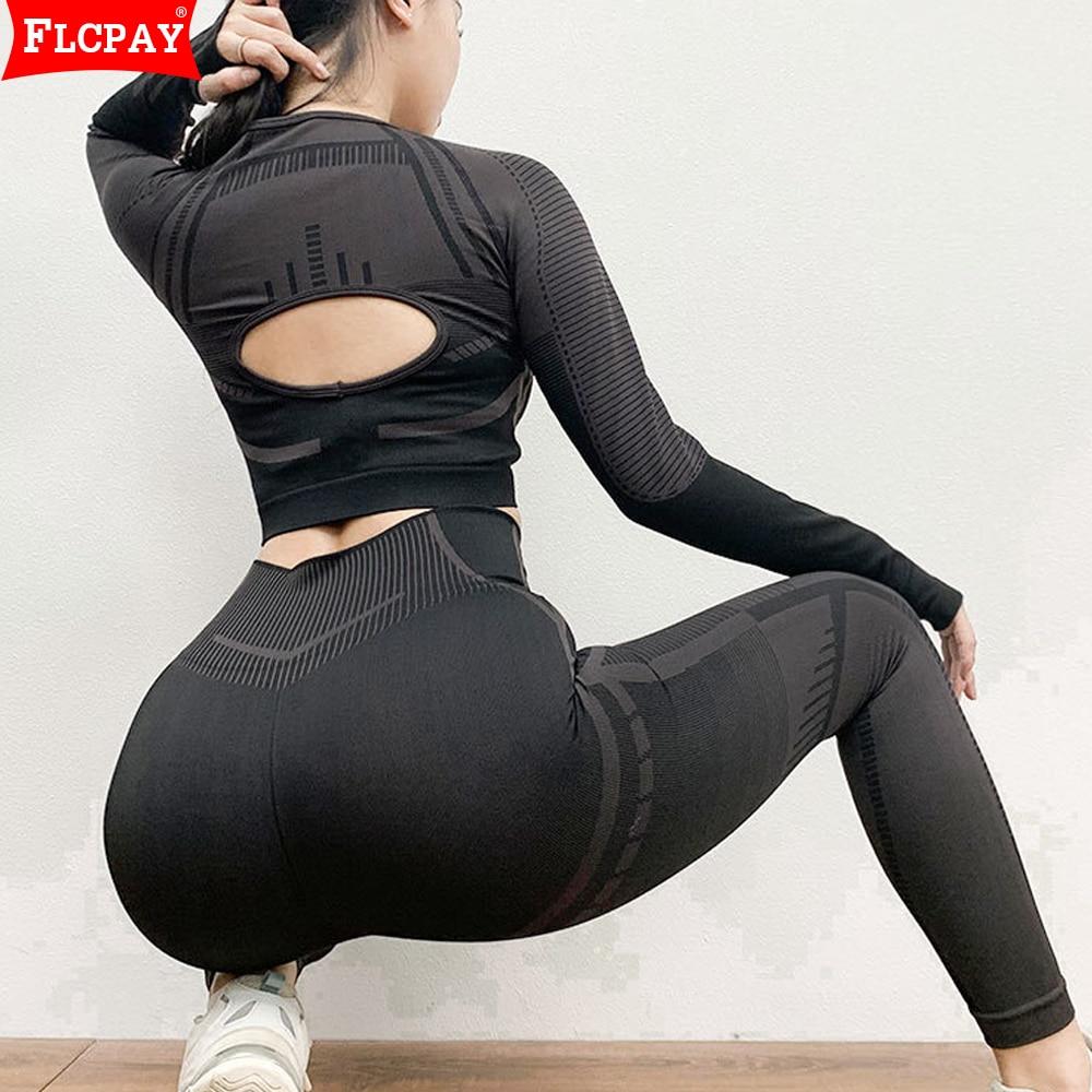 Ropa deportiva para mujer, leggins recortados, pantalones para Yoga, trotar, gimnasio, ropa deportiva, chándales atléticos