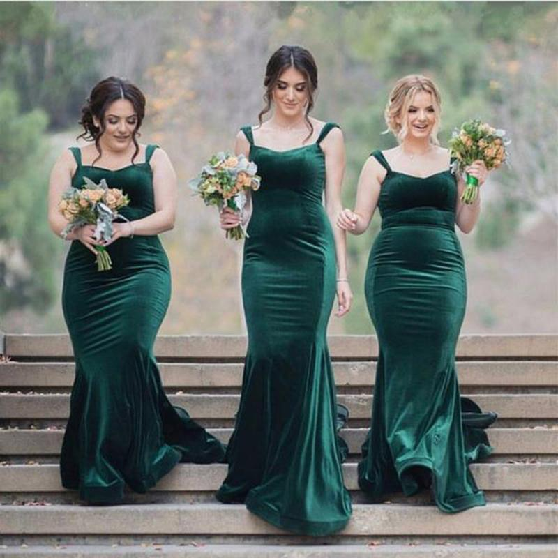 فساتين وصيفة العروس رائعة مصنوعة حسب الطلب طويلة خضراء مخملية لحفلات الزفاف للنساء 2021