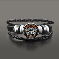 cosplay classic us route 66 bracelet jewelry punk leather glass dome cabochon button snap bracelets for men women