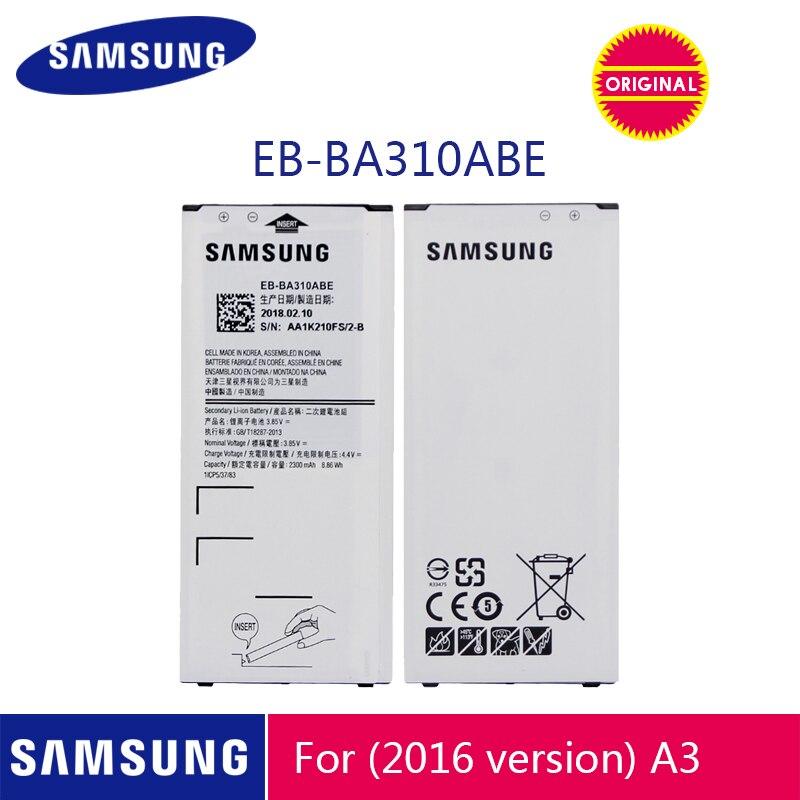 SAMSUNG оригинальный аккумулятор для телефона EB-BA310ABE 2300 мАч для Samsung Galaxy A3 2016 A310 A310F A310M A310Y сменные батареи
