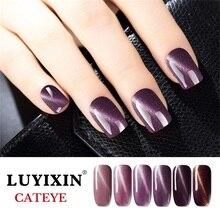 LUYIXIN 젤 네일 폴란드어 LED UV 램프 반짝이 젤 폴란드어 Cateye 48 색 8ML 블랙 병 자석 레이저 네일 아트 바니시