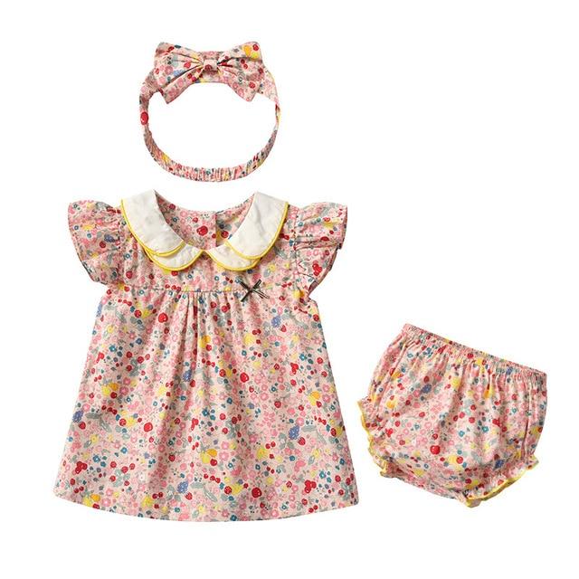 Yg Brand Children's Wear, Summer Baby Cotton Children's Suit, Floral Lapel Baby Clothes, Lovely Princess Skirt 8