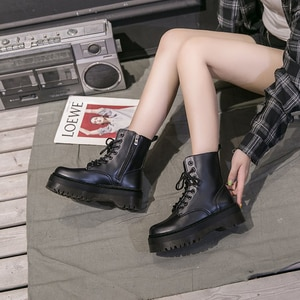 White Botas Women Motorcycle Ankle Boots Wedges Female Lace Up Platforms Autumn Winter Soft Leather Jason Martins Boots