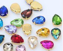 Toutes tailles Larme 24 Couleurs cristal verre pierre à coudre coudre sur strass bijoux 4-Trou perles Or bouton de base pour vêtements artisanat