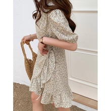 Yg brand women's 2021 summer new fashion floral lace gathered waist Ruffle Dress