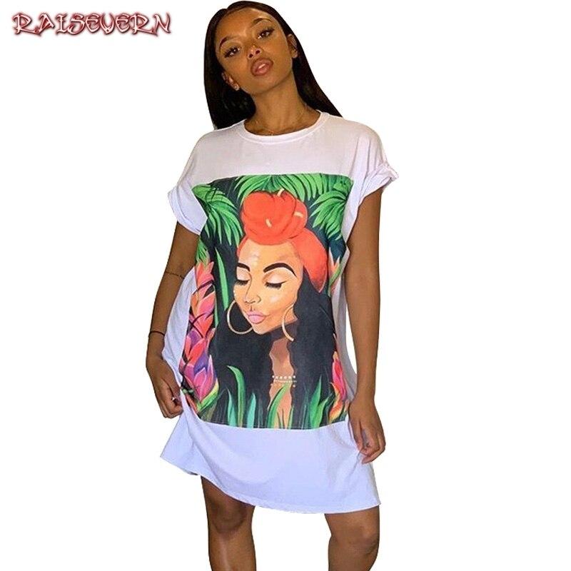 Vestido de camiseta de gran tamaño para mujer de manga corta con estampado de personaje túnica Mini Streetwear vestido de verano para mujer suelto corto vestidos casuales
