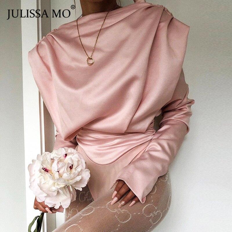 JULISSA MO-Body de satén sin espalda, color rosa, Sexy, para mujer, elegante, manga larga, cuello de tortuga, monos para oficina, Tops básicos para mujer