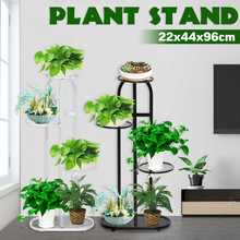 4-Tiers Iron Art Tree Design Plant Stand Holder Flower Pot Rack Garden Shelf Stand Outdoor Indoor Black White