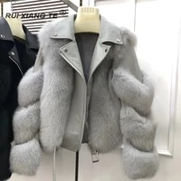 trendy 2021 real fox fur coat with 100 natural sheepskin leather jackets wholeskin natural fox fur female coats