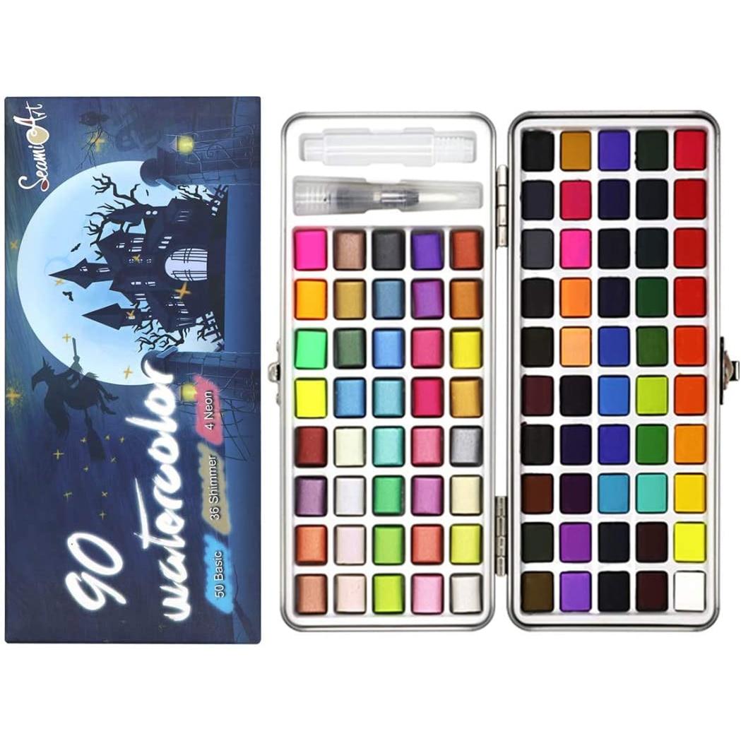 50 Color Solid Watercolor Paint Set Portable Metal Box Watercolor Pigment for Beginner Drawing Watercolor Paper Supplies
