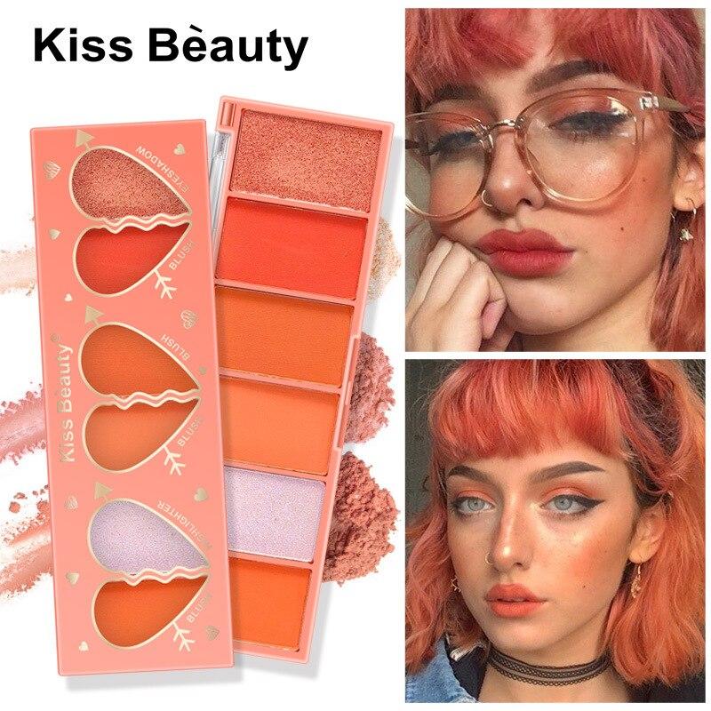 6 couleurs Orange série fard à paupières Blush mat nacré ombre à paupières Pigment ombre à paupières Palette maquillage cosmétiques Maquillaje TXTB1