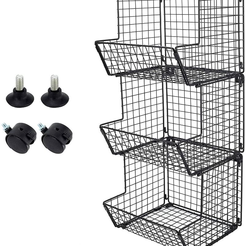 Factory whole sale Wire 3 Tier Fruit Vegetable Basket Wall Hanging Bin Bathroom Towel Rack Kitchen Storage Organizer with Wheels