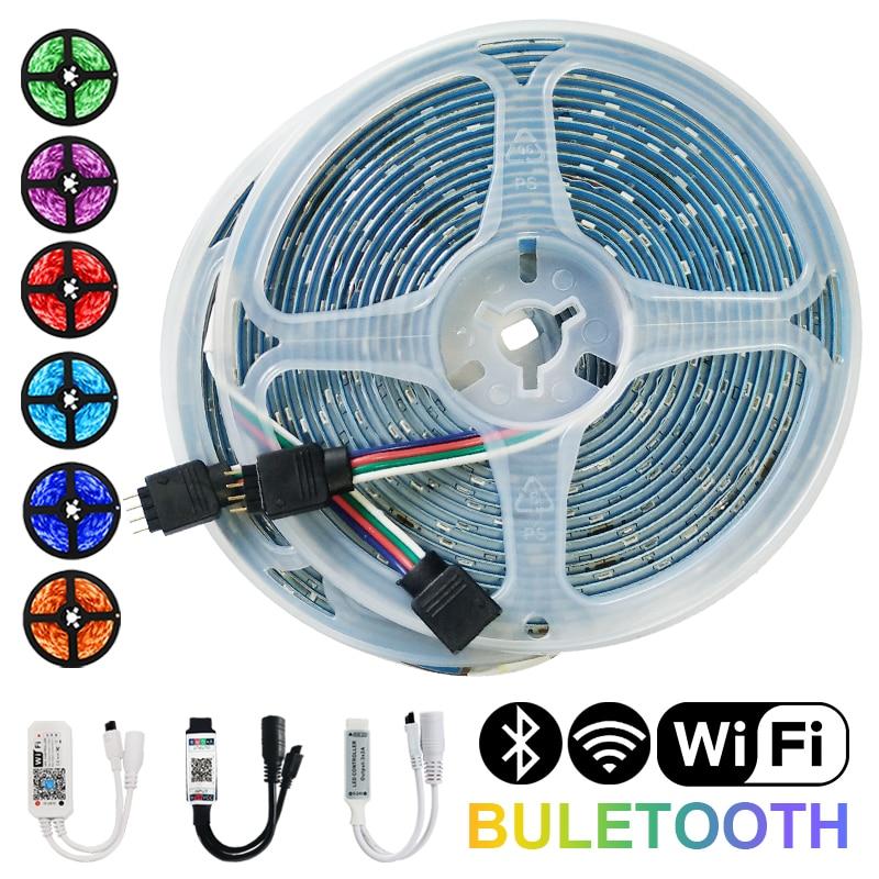 Tiras de luces Led DC12V, lámpara Flexible impermeable con WiFi, Bluetooth, RGB,...