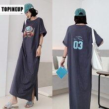 Women's Short Sleeve Casual Loose Long Maxi dress Letter Print Long Dresses Women Plus Size O-neck Sundress  Straight Female